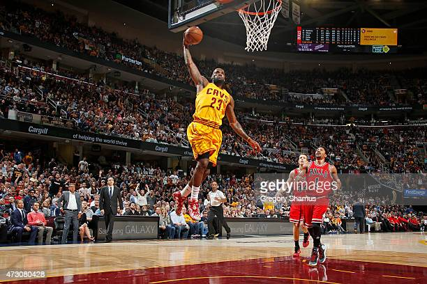 LeBron James of the Cleveland Cavaliers goes up for a dunk against the Chicago Bulls in Game Five of the Eastern Conference Semifinals during the...