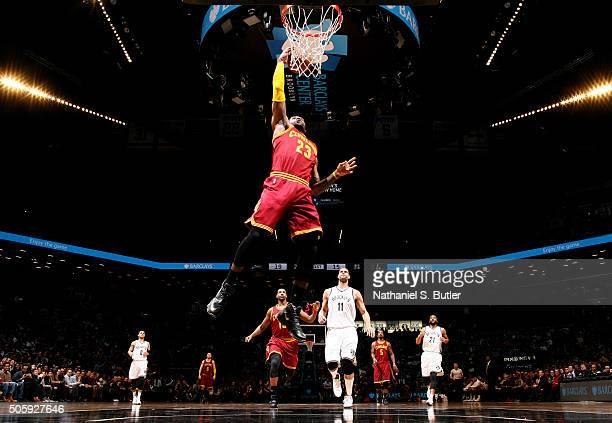 LeBron James of the Cleveland Cavaliers goes up for a dunk against the Brooklyn Nets on January 20 2016 at Barclays Center in Brooklyn New York NOTE...