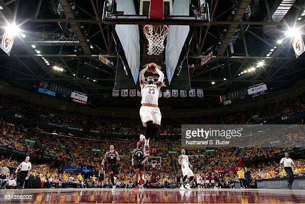 LeBron James of the Cleveland Cavaliers goes up for a dunk against the Toronto Raptors in Game Five of the Eastern Conference Finals during the 2016...