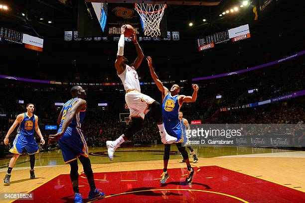 LeBron James of the Cleveland Cavaliers goes up for a dunk against the Golden State Warriors in Game Six of the 2016 NBA Finals on June 16 2016 at...