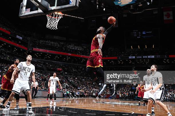 LeBron James of the Cleveland Cavaliers goes up for a dunk against the Brooklyn Nets on January 6 2017 at Barclays Center in Brooklyn New York NOTE...