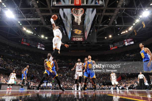 LeBron James of the Cleveland Cavaliers goes up for a dunk against the Golden State Warriors in Game Four of the 2017 NBA Finals on June 9 2017 at...