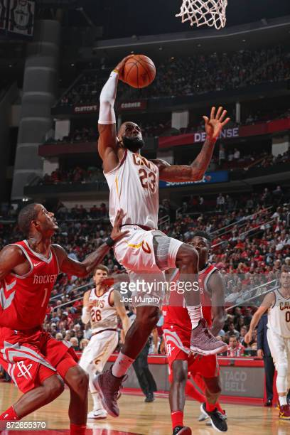 LeBron James of the Cleveland Cavaliers goes up for a dunk against the Houston Rockets on November 9 2017 at Toyota Center in Houston Texas NOTE TO...