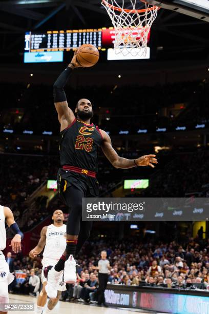 LeBron James of the Cleveland Cavaliers goes up for a dunk against the Washington Wizards during the second half at Quicken Loans Arena on April 5...