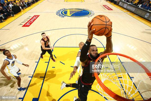 LeBron James of the Cleveland Cavaliers goes up for a dunk against the Golden State Warriors in Game One of the 2018 NBA Finals on May 31 2018 at...