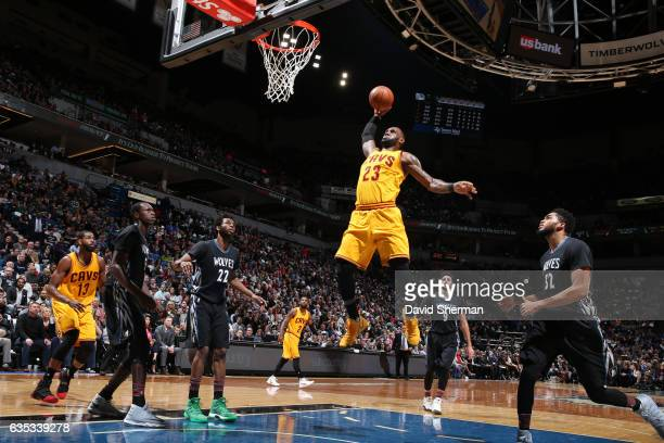 LeBron James of the Cleveland Cavaliers goes up for a dunk during a game against the Minnesota Timberwolves on February 14 2017 at the Target Center...