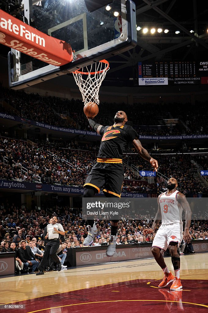 LeBron James #23 of the Cleveland Cavaliers goes up for a dunk during the game against the New York Knicks on October 25, 2016 at Quicken Loans Arena in Cleveland, Ohio.