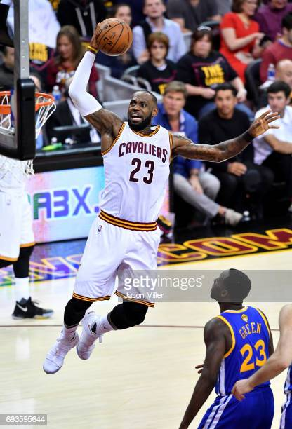 LeBron James of the Cleveland Cavaliers goes up for a dunk in the first half against the Golden State Warriors in Game 3 of the 2017 NBA Finals at...