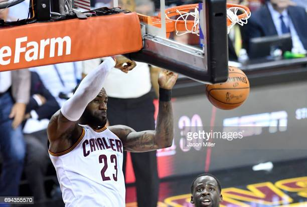 LeBron James of the Cleveland Cavaliers goes up for a dunk in the fourth quarter against the Golden State Warriors in Game 4 of the 2017 NBA Finals...