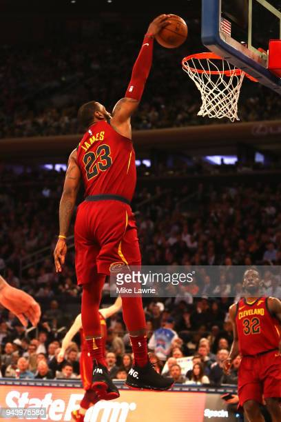 hot sale online e8fc6 7bbf0 LeBron James of the Cleveland Cavaliers goes up for a dunk in the first  half against