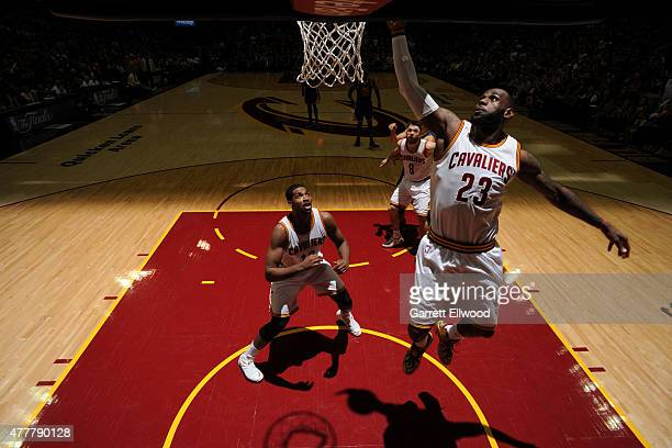 LeBron James of the Cleveland Cavaliers goes up for a shot against the Golden State Warriors in Game Six of the 2015 NBA Finals at The Quicken Loans...