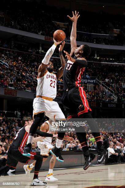 LeBron James of the Cleveland Cavaliers goes up for a shot against Hassan Whiteside of the Miami Heat during a game on March 6 2017 at Quicken Loans...