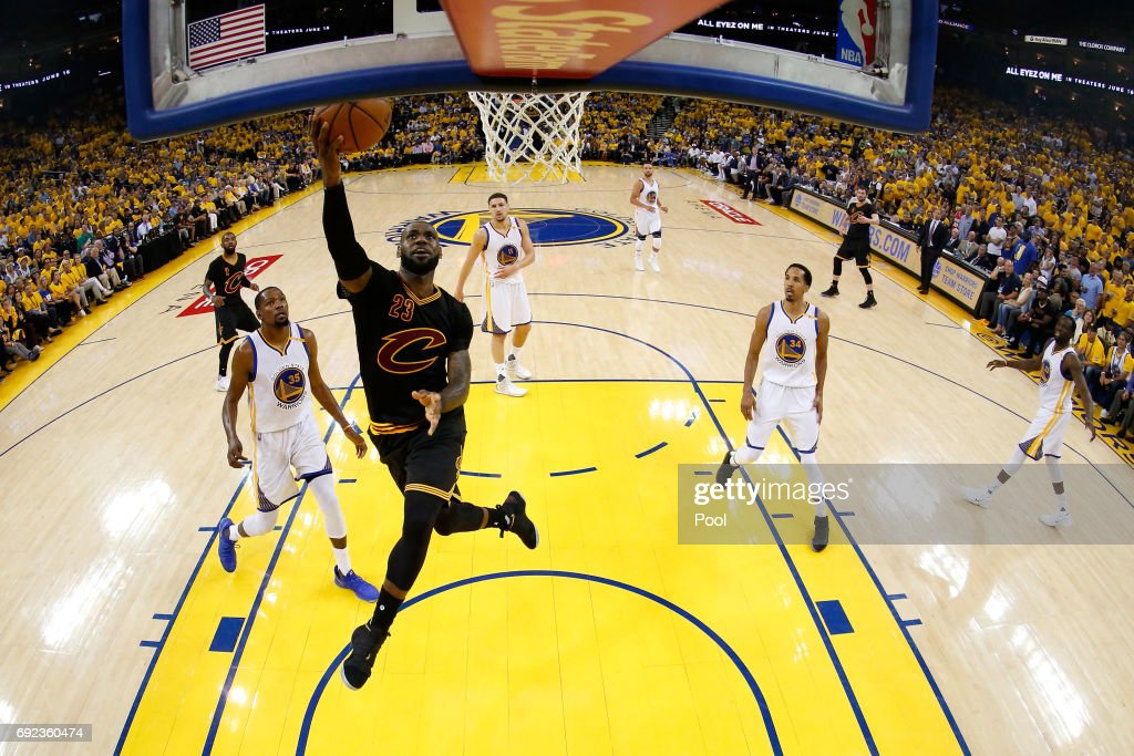 LeBron James #23 of the Cleveland Cavaliers goes up for a shot against the Golden State Warriors in Game 2 of the 2017 NBA Finals at ORACLE Arena on June 4, 2017 in Oakland, California.