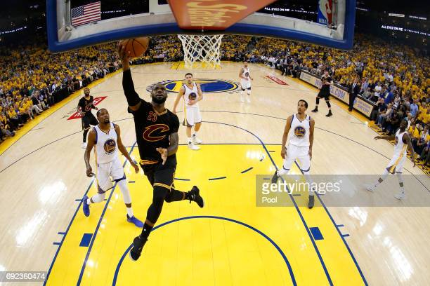 LeBron James of the Cleveland Cavaliers goes up for a shot against the Golden State Warriors in Game 2 of the 2017 NBA Finals at ORACLE Arena on June...