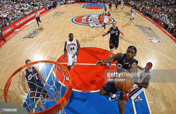 LeBron James of the Cleveland Cavaliers goes up for a shot in Game Two of the Eastern Conference Finals during the 2007 NBA Playoffs against the...