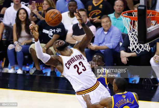 LeBron James of the Cleveland Cavaliers goes up for the ball in the first quarter against the Golden State Warriors in Game 4 of the 2017 NBA Finals...