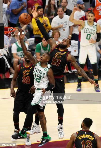 LeBron James of the Cleveland Cavaliers goes up for the block against Terry Rozier of the Boston Celtics in the third quarter during Game Six of the...