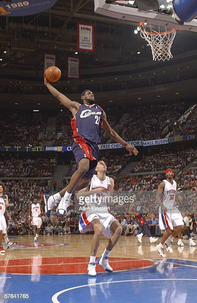 LeBron James of the Cleveland Cavaliers goes up for the dunk against Tayshaun Prince of the Detroit Pistons in game five of the Eastern Conference...