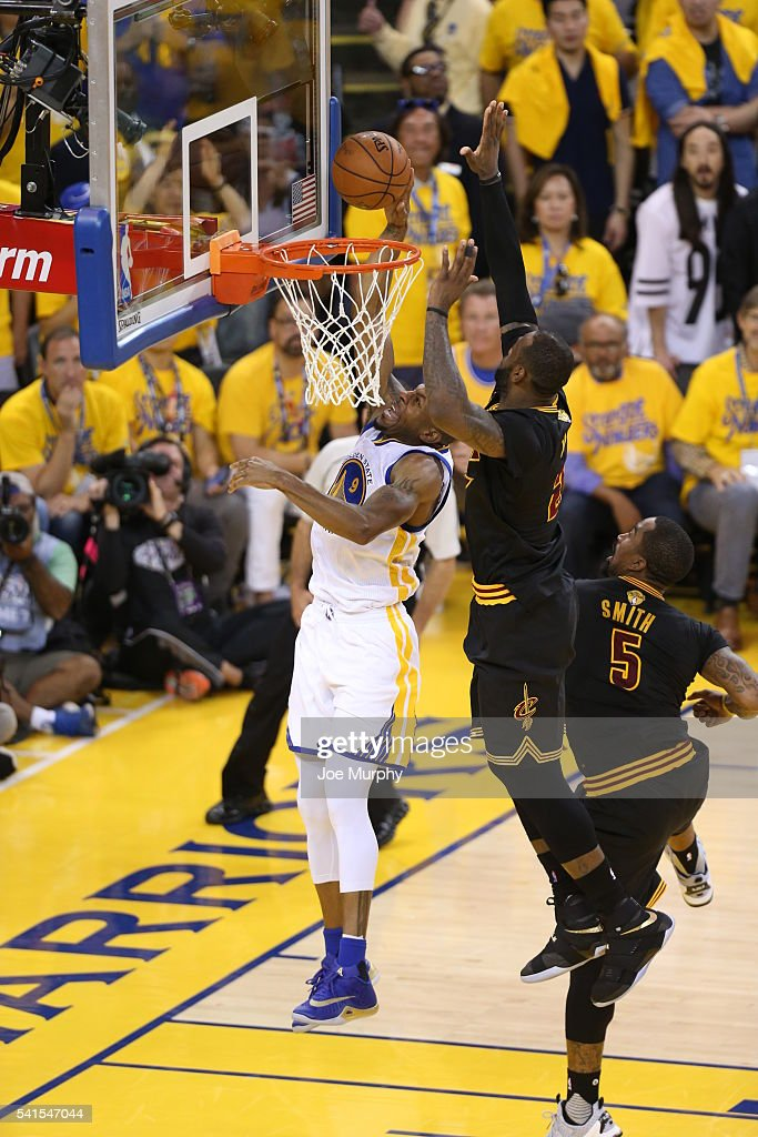 LeBron James of the Cleveland Cavaliers goes up to block a shot ... 99c62ac1f309
