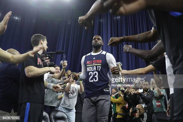 LeBron James of the Cleveland Cavaliers greets fans prior to practice for the 2017 NBA AllStar Game at the MercedesBenz Superdome on February 18 2017...