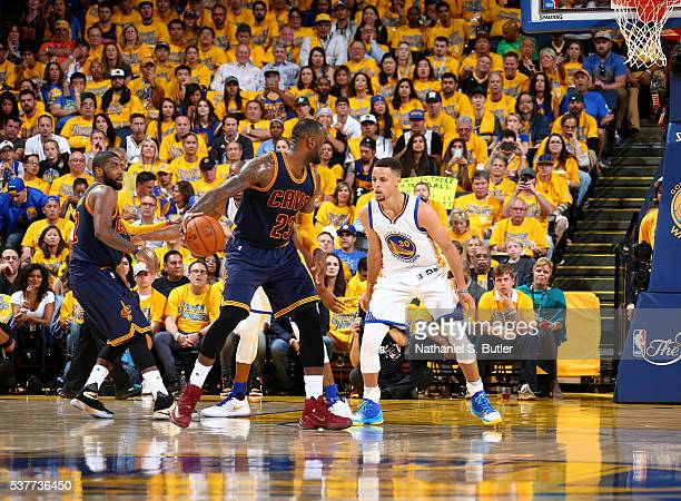 LeBron James of the Cleveland Cavaliers handles the ball against Stephen Curry of the Golden State Warriors in Game One of the 2016 NBA Finals on...