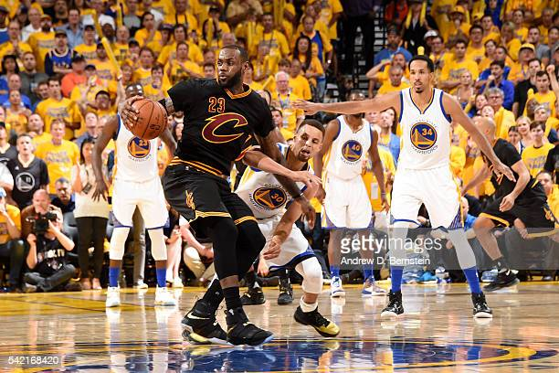 LeBron James of the Cleveland Cavaliers handles the ball against Stephen Curry of the Golden State Warriors during Game Seven of the 2016 NBA Finals...