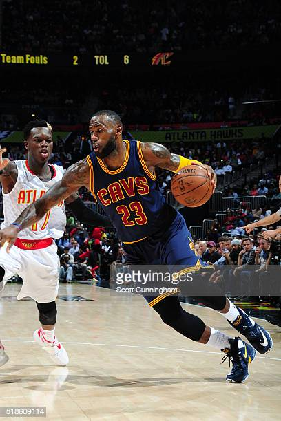 LeBron James of the Cleveland Cavaliers handles the ball against the Atlanta Hawks on April 1 2016 at Philips Arena in Atlanta Georgia NOTE TO USER...