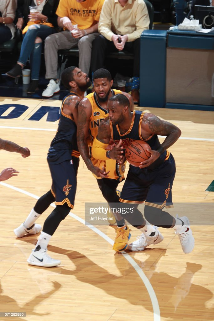 LeBron James #23 of the Cleveland Cavaliers handles the ball against the Indiana Pacers during Game Three of the Eastern Conference Quarterfinals of the 2017 NBA Playoffs on April 20, 2017 at Bankers Life Fieldhouse in Indianapolis, IN.