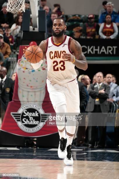 LeBron James of the Cleveland Cavaliers handles the ball against the Indiana Pacers on January 12 2018 at Bankers Life Fieldhouse in Indianapolis...