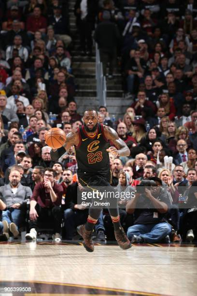 LeBron James of the Cleveland Cavaliers handles the ball against the Golden State Warriors on January 15 2018 at Quicken Loans Arena in Cleveland...