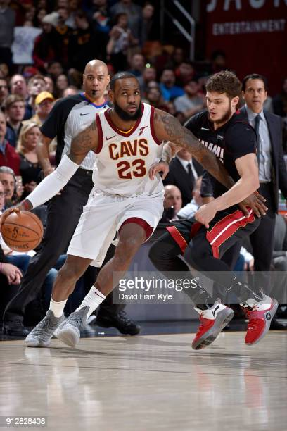 LeBron James of the Cleveland Cavaliers handles the ball against the Miami Heat on January 31 2018 at Quicken Loans Arena in Cleveland Ohio NOTE TO...
