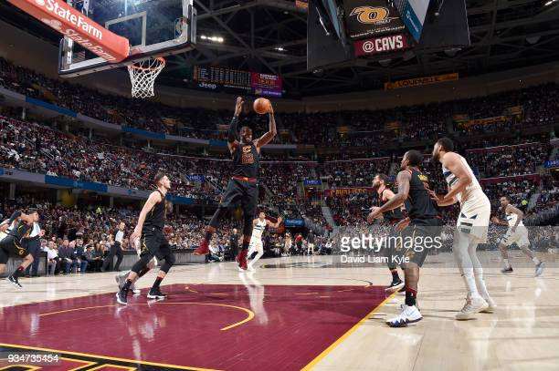 LeBron James of the Cleveland Cavaliers handles the ball against the Milwaukee Bucks on March 19 2018 at Quicken Loans Arena in Cleveland Ohio NOTE...