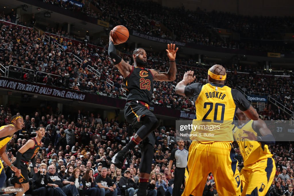 LeBron James #23 of the Cleveland Cavaliers handles the ball against the Indiana Pacers in Game One of Round One of the 2018 NBA Playoffs on April 15, 2018 at Quicken Loans Arena in Cleveland, Ohio.