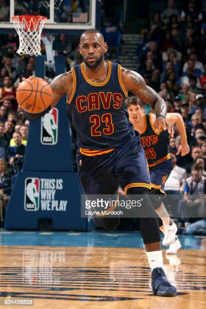 LeBron James of the Cleveland Cavaliers handles the ball during the game against the Oklahoma City Thunder on February 9 2017 at Chesapeake Energy...