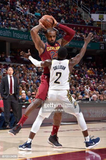 LeBron James of the Cleveland Cavaliers handles the ball during the game against the Indiana Pacers on November 1 2017 at Quicken Loans Arena in...
