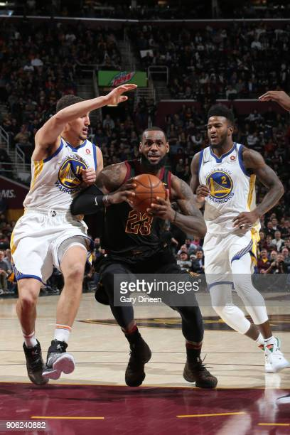 LeBron James of the Cleveland Cavaliers handles the ball during the game against the Golden State Warriors on January 15 2018 at Quicken Loans Arena...