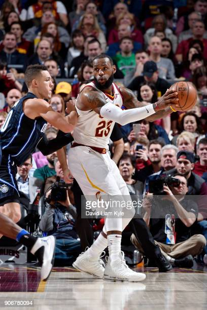 LeBron James of the Cleveland Cavaliers handles the ball during the game against the Orlando Magic on January 18 2018 at Quicken Loans Arena in...