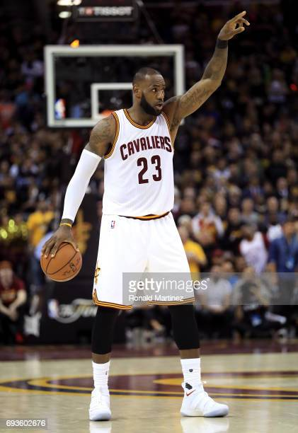 LeBron James of the Cleveland Cavaliers handles the ball in the second half against the Golden State Warriors in Game 3 of the 2017 NBA Finals at...