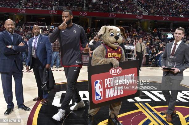LeBron James of the Cleveland Cavaliers has been named the Kia NBA Eastern Conference Player of the Month before the game against the Orlando Magic...