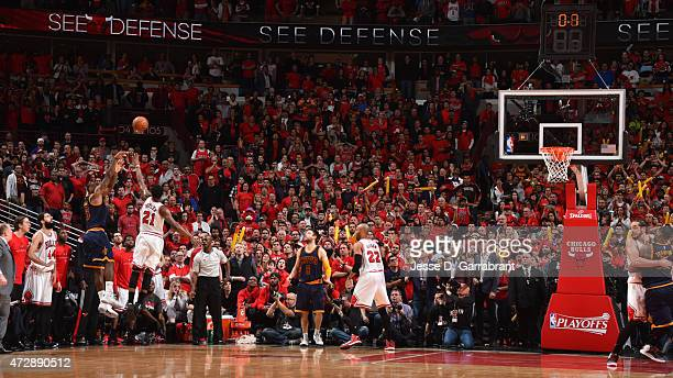 LeBron James of the Cleveland Cavaliers hits the game winning shot with 7 seconds left in the game against the Chicago Bulls at the United Center...