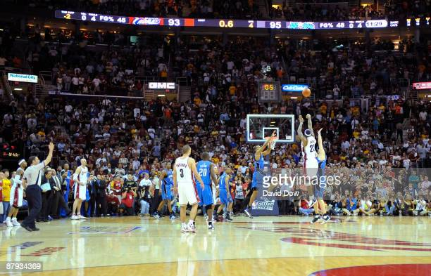 LeBron James of the Cleveland Cavaliers hits the gamewinning shot against Hedo Turkoglu of the Orlando Magic in Game Two of the Eastern Conference...