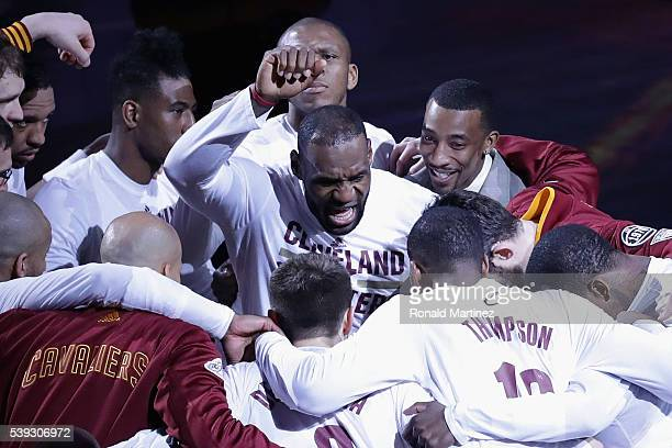 LeBron James of the Cleveland Cavaliers huddles with teammates prior to Game 4 of the 2016 NBA Finals against the Golden State Warriors at Quicken...