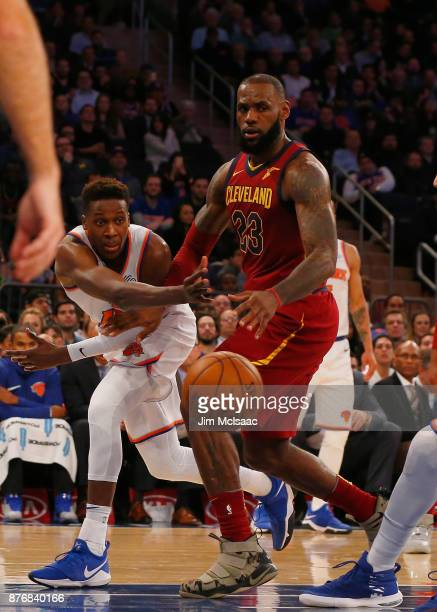 LeBron James of the Cleveland Cavaliers in action against Frank Ntilikina of the New York Knicks at Madison Square Garden on November 13 2017 in New...