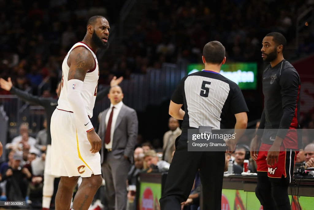 LeBron James #23 of the Cleveland Cavaliers is ejected in the second half by referee Kane Fitzgerald #5 while playing the Miami Heat at Quicken Loans Arena on November 28, 2017 in Cleveland, Ohio. Cleveland won the game 108-97.