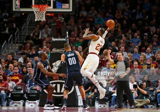 LeBron James of the Cleveland Cavaliers is fouled while taking a shot against Aaron Gordon of the Orlando Magic at Quicken Loans Arena on January 18...
