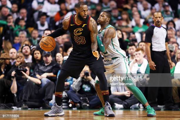 Lebron James of the Cleveland Cavaliers is guarded by Terry Rozier of teh Boston Celtics in the second half during a game against the Boston Celtics...