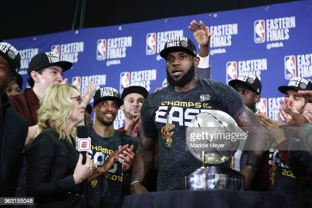 LeBron James of the Cleveland Cavaliers is interviewed by Doris Burke after defeating the Boston Celtics 8779 in Game Seven of the 2018 NBA Eastern...