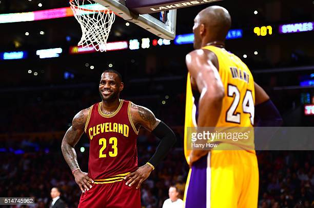 LeBron James of the Cleveland Cavaliers jokes with Kobe Bryant of the Los Angeles Lakers during a 120108 Cavaliers win at Staples Center on March 10...