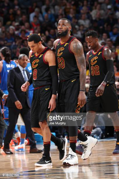 LeBron James of the Cleveland Cavaliers Jordan Clarkson of the Cleveland Cavaliers and Jeff Green of the Cleveland Cavaliers exit the court after the...