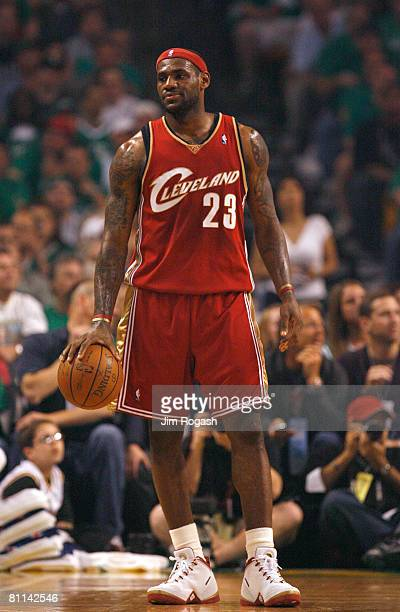 LeBron James of the Cleveland Cavaliers looks on against the Boston Celtics in Game Seven of the Eastern Conference Semifinals during the 2008 NBA...